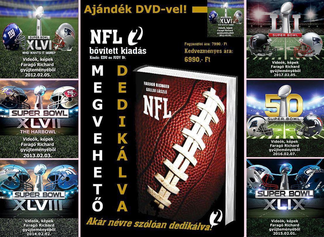 NFL könyv és 11 SB-os DVD benne a legújabb LI SB-ról készülttel